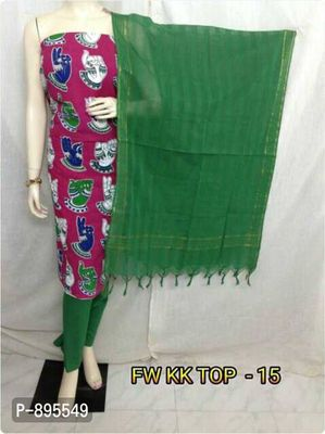 🌺newly customised 🌺  Beautiful unique kalamkari cotton top with cotton bottom and weaving dupatta     @wholesale rates   Multiples avaiable