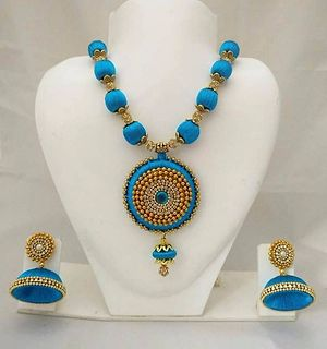 Silk thread necklace with earring