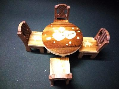 Wooden Baby Chair Table Set Showpiece