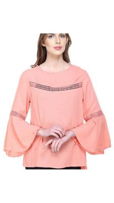 Peach Bell Sleeve Top With Lace Detail