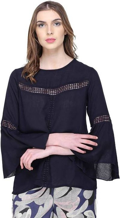 Navy Blue Bell Sleeve Top With Lace Detail