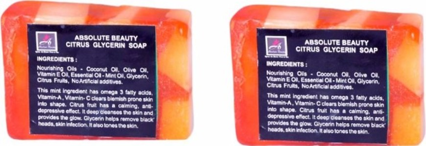 ABSOLUTE BEAUTY CITRUS GLYCERINE SOAP - PACK OF 2 NOS