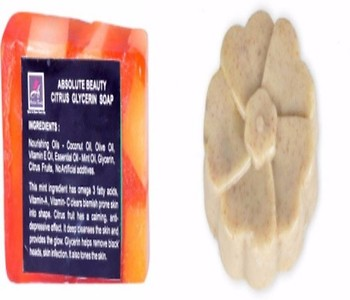 ABSOLUTE BEAUTY CITRUS GLYCERINE SOAP & WILD ROSE SCRUB SOAP - PACK OF 2 NOS