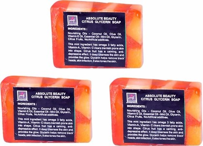 ABSOLUTE BEAUTY CITRUS GLYCERINE SOAPS-PACK OF 3 NOS