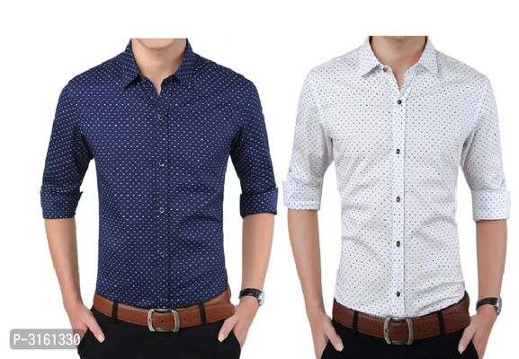 Men's Multicoloured Cotton Printed Long Sleeves Slim Fit Casual Shirt (Pack of 2)