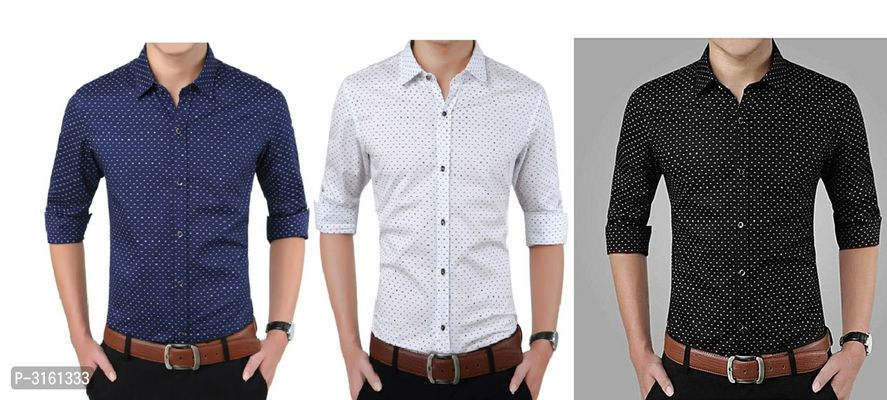 Men's Multicoloured Cotton Printed Long Sleeves Slim Fit Casual Shirt (Pack of 3)