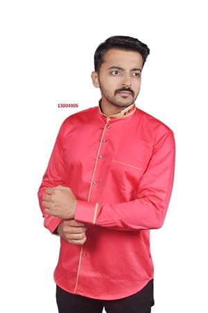 Red, Men Party/Casual Wear Cotton Shirt