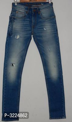 Men's Blue Cotton Spandex Faded Skinny Fit Mid-Rise Jeans