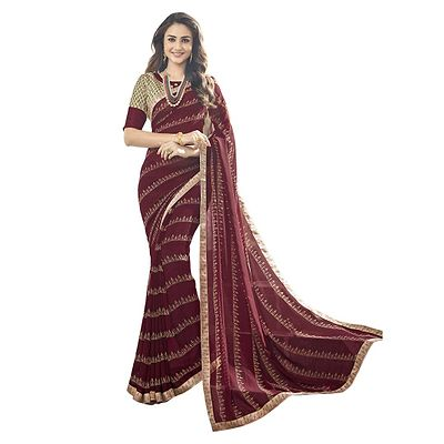 3ddf7b7d6d6 Maroon Digital Printed Pure Georgette Saree With Blouse Piece - Buy ...