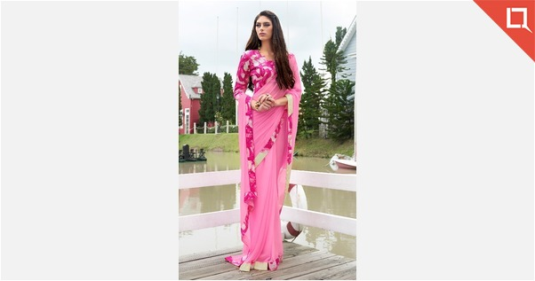 Delightful Pink Colored Border Worked Chiffon Casual Wear Saree 1004