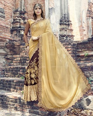 Triveni Colored Embroidered Faux Georgette Partywear Saree