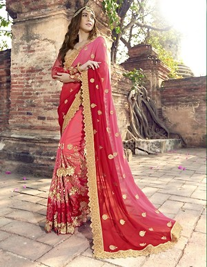 Peach Embroidered Faux Georgette Partywear Saree