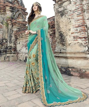 Green Embroidered Faux Georgette Partywear Saree