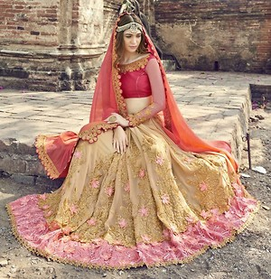 Beige Embroidered Faux Georgette Partywear Saree by Triveni