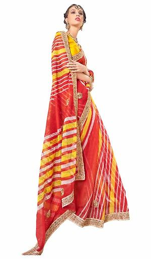 Triveni Peach Supernet Printed Saree