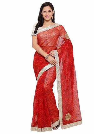 Triveni Red Supernet Printed Saree
