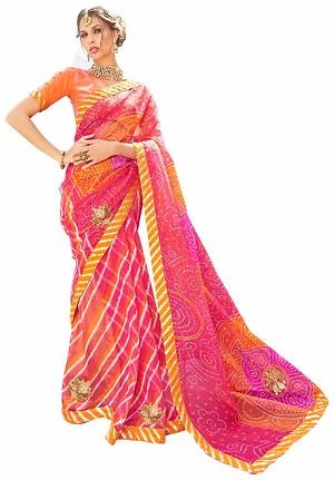 Triveni Pink Supernet Printed Saree