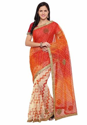 Triveni Off White Supernet Printed Saree