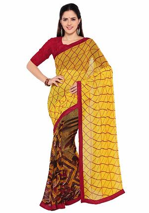 Multi Colour Faux Georgette Everyday Wear Printed Saree By Triveni