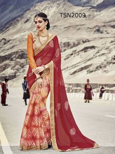 Appealing Multi Colored Printed Georgette Chiffon Saree