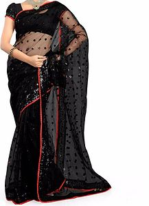 Black Net Shimmer Saree with Red border