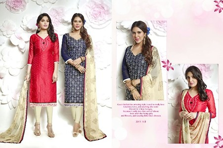 DOUBLE TOP AND ONE BOTTOM Material Details :- Top 1 :- Chanderi work (2.25 mts) Top 2 :- Modal butti with mirror (2.25 m