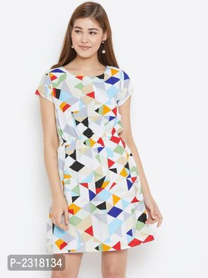 White and Multicolor Geometric Printed Crepe Dress