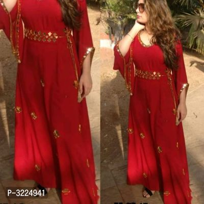 Reliable Red Embellished Rayon Women's Long Kurti