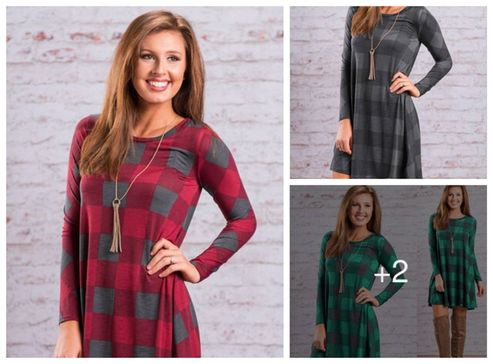imported-stylish-cotton-checked-long-sleeve-dress