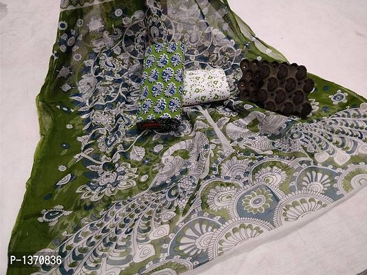 Green Printed Cotton Dress Material with Dupatta