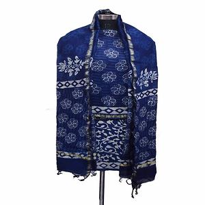 Indigo Multi Color Hand Block Printed Chanderi Silk Kurta & Chanderi Dupatta Fabric Set