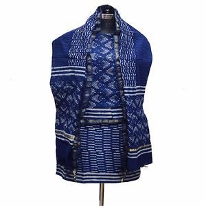 Indigo Ivory Hand Block Printed Chanderi Unstitched Kurta & Chanderi Dupatta With Cotton Salwar