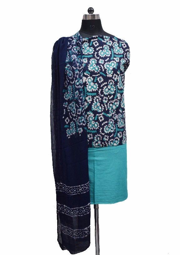 Hand Block Printed Cotton Suit-Salwar Fabric With Chiffon Dupatt
