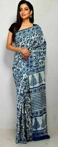 hand block printed  indigo cotton saree with blouse