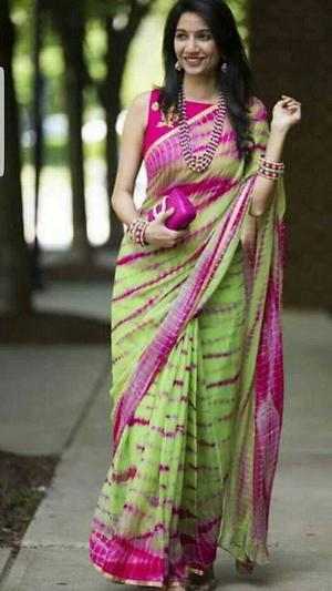 hand block printed  chiffon  saree with blouse
