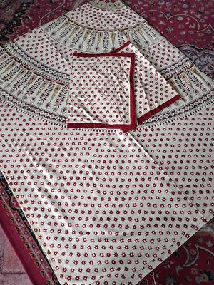Queen Bedspreads Cotton White bagru  Hand Block Printed  Double Bedsheets By cotton india