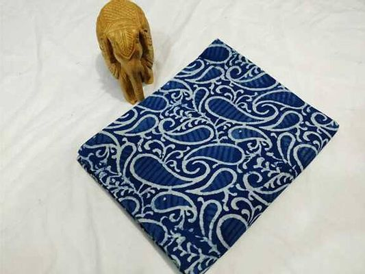 hand block printed  cotton fabric 2.5 mtr