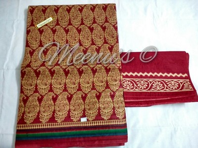 Pure Cotton hand block print saree with matching blouse