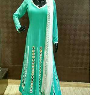 anarkali with orignal mirror work