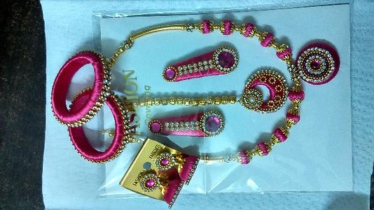 Pink Kids silk thread jewellery set