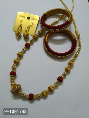 Girls silk thread jewellery set