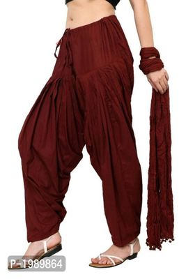 Women's Cotton Solid Full Patiala Salwar And Dupatta Set Combo (Free Size)