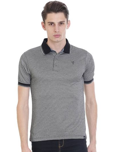 Grey Solid Polo Neck T-Shirt