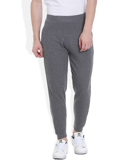 Grey Cotton Solid Regular Track Pant