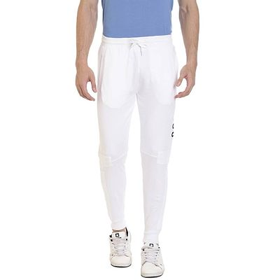 White Cotton Printed Regular Track Pant
