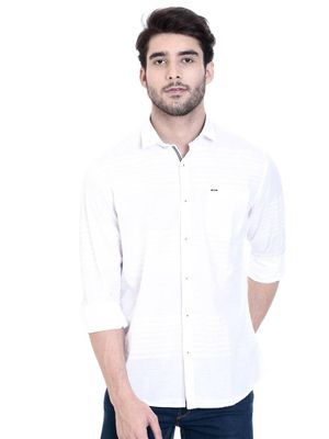 White Cotton Solid Slim Fit Casual Shirt