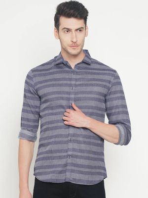 Grey Cotton Striped Slim Fit Casual Shirt