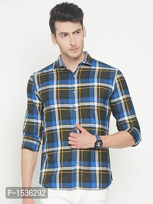 Multicoloured Cotton Checked Slim Fit Casual Shirt