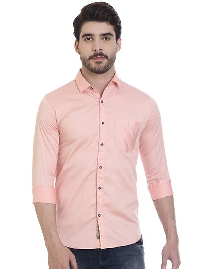 Pink Cotton Solid Slim Fit Casual Shirt