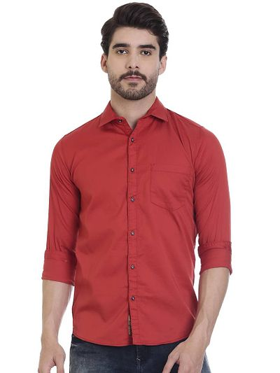 Red Cotton Solid Slim Fit Casual Shirt